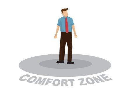 Business man are too comfortable inside his comfort zone and do not want to get out. Concept of not improving and growth. Vector cartoon. illustration
