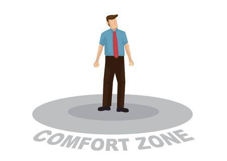 El hombre de negocios se siente demasiado cómodo dentro de su zona de confort y no quiere salir. Concepto de no mejora y crecimiento. Dibujos animados de vector. ilustración