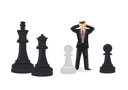 Cartoon businessman losing in giant chess game. Creative vector illustration on business strategy Vector cartoon illustration.