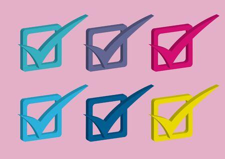 Collection of six check mark in 3D. Isolated flat vector illustration. Illusztráció