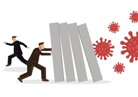 Coronavirus outbreak cause a domino effect on financial crisis. Company business economic collapse concept. Businessman pushing bar graph falling. Vector illustration.