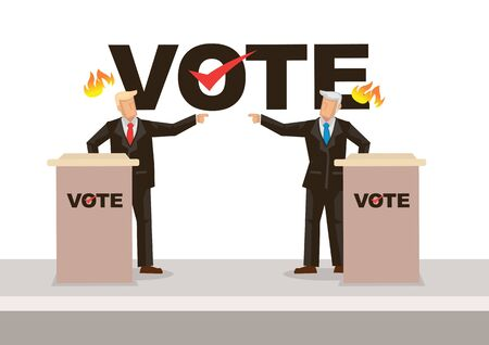 Two politicians taking part in political debates in front of audience. Election concept. Vector illustration.