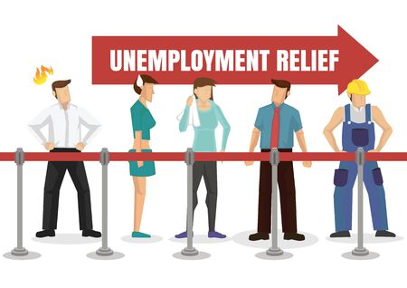 People queuing up for unemployment relief. Financial welfare assistance concept. Vector illustration.