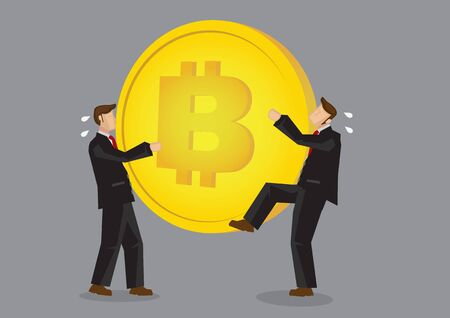 Two bussinessmen snatching for Bitcoin. Concept of the impact of cryptocurrency. Vector Illustration. Illustration
