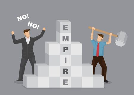 Cartoon businessman saying No to employee destroying his empire. Creative vector illustration for concept on employee ruining company business.