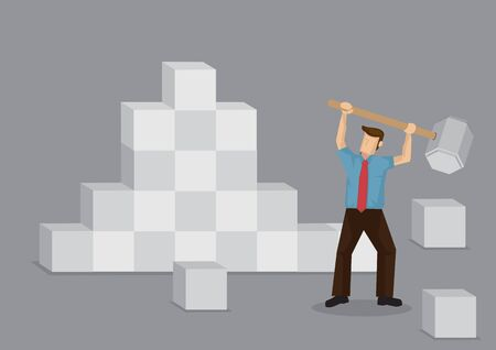 Cartoon man using a giant hammer to break down stumbling block. Creative vector illustration for overcoming obstacles metaphor. Vettoriali