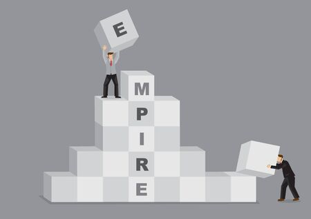 Cartoon businessmen using building blocks to create Empire. Creative vector illustration for business building metaphor. Ilustracje wektorowe