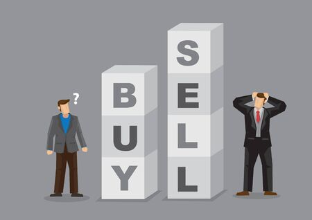 Two businessmen standing beside blocks with alphabets that form words Buy and Sell. Cartoon vector illustration on making buy and sell decision in businesses. Vecteurs