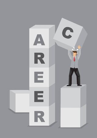 Business professional stacking up letter blocks that reads Career. Creative vector illustration for concept on building career.