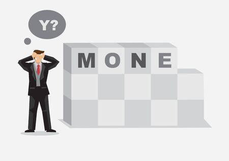 Cartoon businessman finds missing letter in alphabet building blocks read MONEY. Creative vector illustration for word play on losing money metaphor. Illustration
