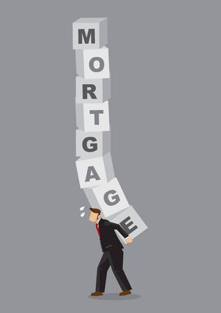 Cartoon businessman carrying heavy blocks that read Mortgage on his back. Creative cartoon vector illustration on metaphor for heavy burden of mortgage loan.