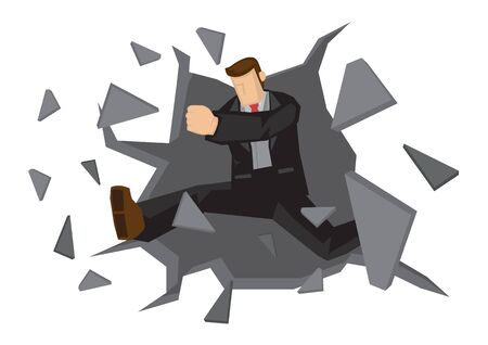 Vector Illustration of business man breaking down the wall. Concept of breaking though barrier to get freedom and achievement.