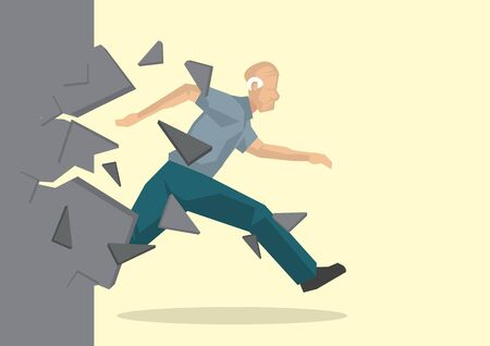 Creative cartoon vector illustration of old worker breaking wall. Metaphor concept about breaking through obstacle of old age to achieve success.