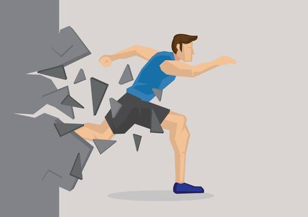 Creative cartoon vector illustration of sport man breaking wall. Metaphor concept about breaking through obstacles to achieve success.