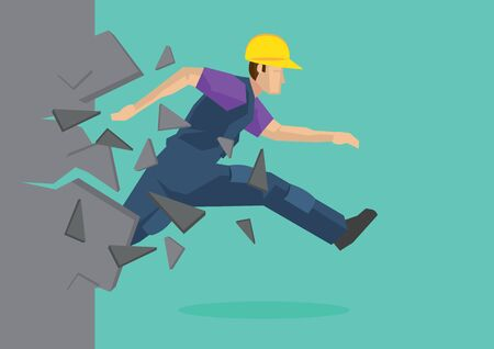 Creative cartoon vector illustration of construction worker breaking wall. Metaphor concept about breaking through obstacle of employee to achieve success. Vectores