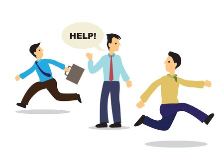 Colleagues run away from businessman asking for help. Concept of discrimination, business culture and office politics. Vector illustration. Ilustrace