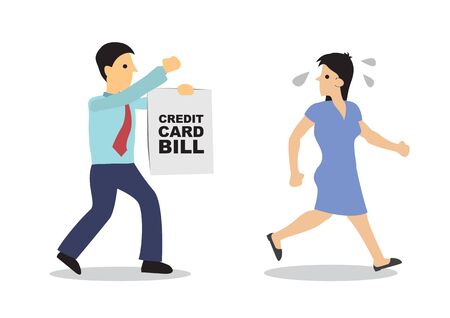Worried woman running away from his debt collector. Business concept of debtor, financial problem or bad economy. Vector cartoon illustration.