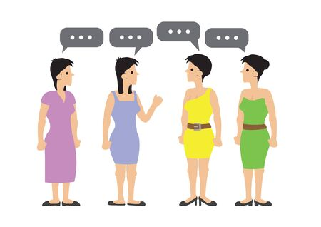 Happy group of women talking, gossiping and having fun. Concept of casual communication. Flat isolated vector illustration