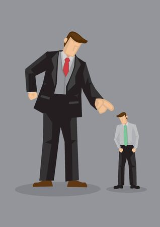 Giant cartoon man in angry gesture and pointing index finger at smaller sized man with head hang low. Creative vector illustration for being scolded at work concept isolated on grey background. 벡터 (일러스트)