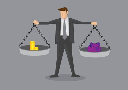 Cartoon businessman holding weighing scales with gold coins on one side and piggy bank on the other. Creative vector illustration on business financial concept.