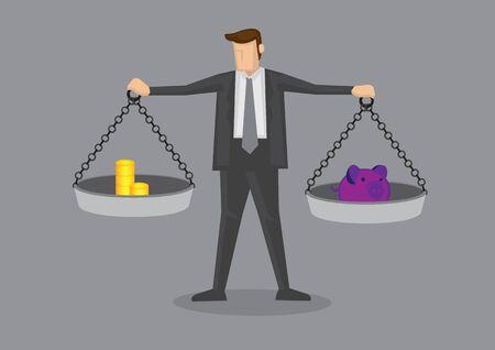 Karikaturgeschäftsmann, der Waagen mit Goldmünzen auf der einen Seite und Sparschwein auf der anderen hält. Kreative Vektorillustration auf Geschäftsfinanzkonzept.