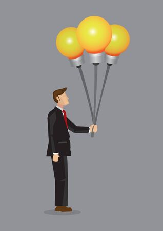 Cartoon businessman holding incandescent light bulb balloons, representing ideas and innovation. Innovative idea concept for business vector illustration isolated on grey background