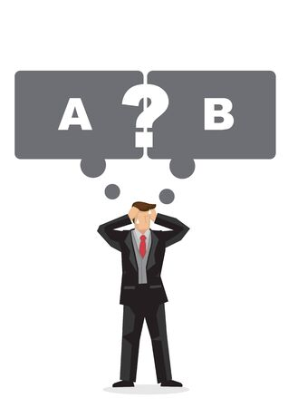 Businessman in doubt to choose which direction to go. Concapt of challenge, change and options. Isolated flat vector illustration.