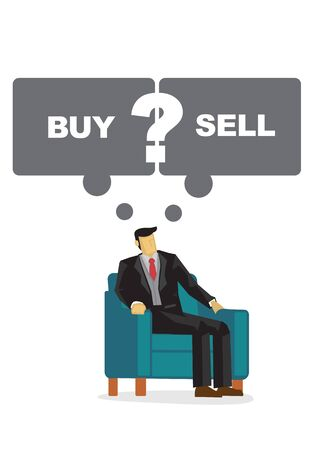 Business man with speech bubble thinking if he should buy or sell his shares. Portray of a indecisive leader. Vector cartoon illustration.