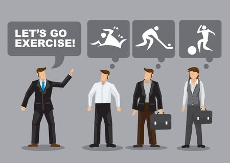 Different working adults think of different favorite sports and activities for exercise. Cartoon vector illustration on different preferences for sports among working adults.