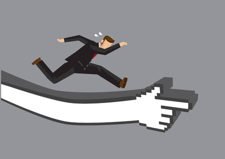 Businessman running on a track making out from a digital hand. Vector cartoon illustration for concept on overcoming digital challenges or transformation - Vector