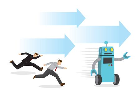 Robot running faster than any office workers in a race. Depicts the danger of automation, future jobless market and artificial intelligence. Concept of Human vs Robot. Isolated vector cartoon illustration.