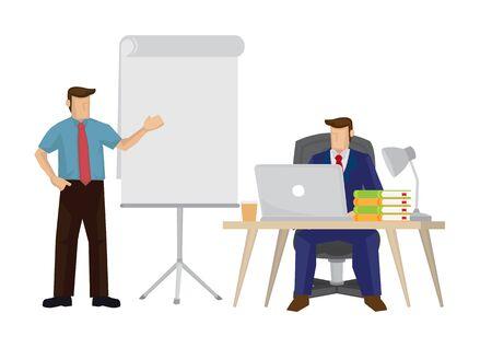 Illustration of corporate business man pitching presentation. Business concept of group of people working together.
