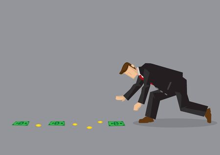 Cartoon man wearing suit bends over to pick up money lying on the ground. Vector illustration on finding easy money and get-rich-rich concept isolated on grey background.