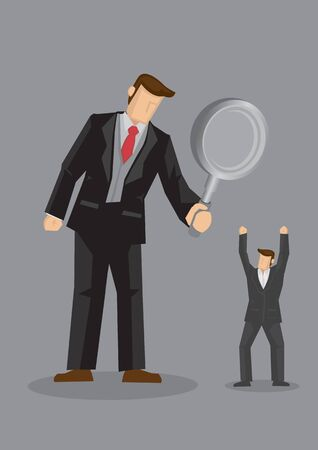 Big boss looking through magnifying glass at attention seeking white collar worker. Creative vector illustration for executive search metaphor and business recruitment concept isolated on grey background.
