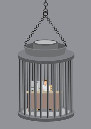 Employee working at desk job inside a cage like prisoner in jail. Creative vector business illustration on concept of feeling unhappy and trapped in a job one dislike.