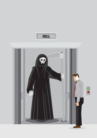 Cartoon businessman standing outside elevator with floor indicator marked Hell finds Grim Reaper standing inside the lift. Vector illustration on strange encounter with death concept.