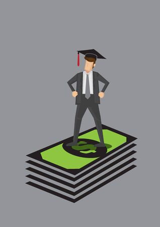 White collar worker wearing mortarboard standing on a stack of green dollar notes. Creative vector cartoon illustration for education and money concept. Ilustrace