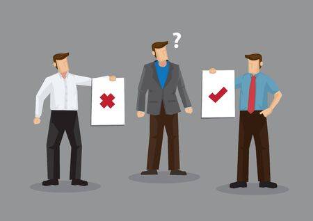 Cartoon man confusion by conflicting advice from different people. Vector illustration on confused by different opinions concept isolated on grey background. Vecteurs