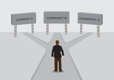 Cartoon business worker stands in the middle of cross roads leading to sign of companies. Vector cartoon illustration on job or career decision concept. Vettoriali