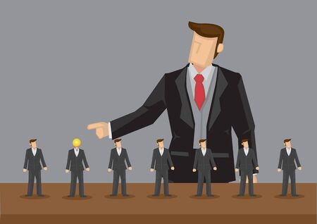 Lineup of homogeneous tiny business professionals and giant businessman pointing at one with light bulb head. Creative vector illustration for concept on outstanding worker getting recognition at work.