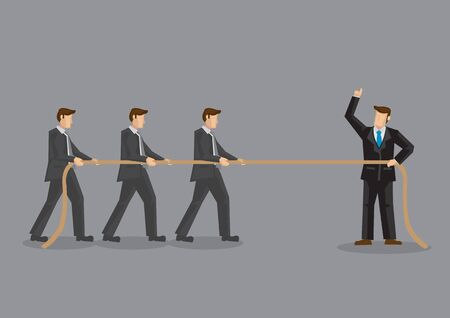 Business professionals in tug of war with three men on one side of rope and one man in command on opposite side. Vector illustration on organizational development training concept.