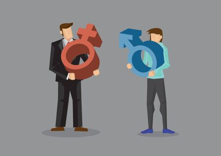 Man carrying red female symbol and woman holding blue male symbol. Vector cartoon illustration on gender concept isolated on grey background.