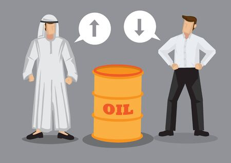 Cartoon Arab man and businessman with speech balloons standing beside a barrel of oil. Vector illustration on oil price concept isolated on grey background.