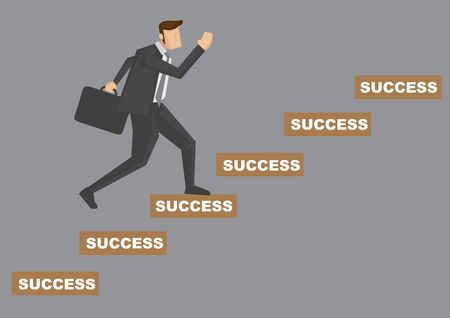 Side view of cartoon businessman carrying a briefcase going up the stairs of success. Creative vector illustration on success concept isolated on grey background. Stock Illustratie