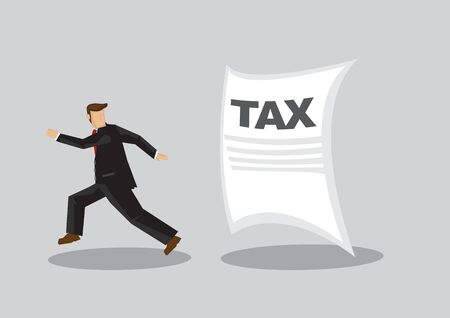 Cartoon businessman running away from Tax notice chasing behind him. Creative vector illustration on concept of tax evasion by businesses isolated on grey background.