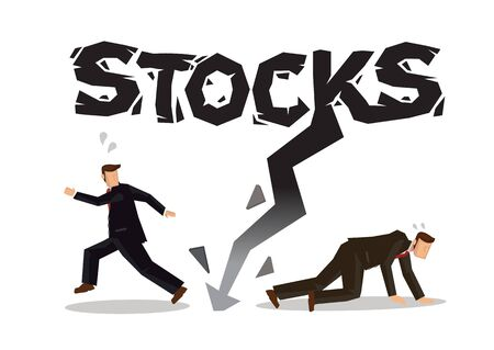 Businessman running away from the downward arrow depicting the concept of stock market loss. Stock financial market crash with a black arrow. Vector illustration.