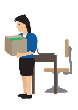 Businesswoman losing her job. Sad young woman with a heavy box of personal items after losing her job. Concept of career termination or corporate change. Vector illustration.