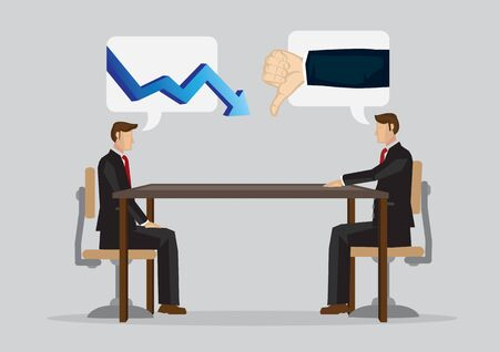 Cartoon employee get scold from his employer for not getting more revenue for his company due to bad economy. Concept of business relationship. Vector illustration for ambiguous instructions.