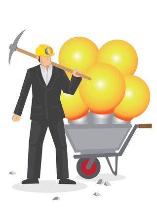 Business professional with a wheelbarrow of huge light bulbs. Vector cartoon illustration on metaphor for someone full of ideas isolated on white background.