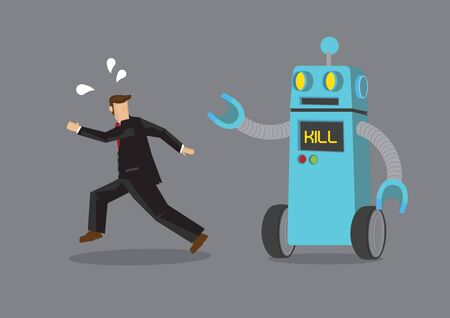 Robot chasing after a businessman. Business concept of the problem of artificial intelligence, automation or technology that might cause a jobless society. Vector cartoon illustration.